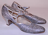 Vintage Silver Leather Lamé Lame Brocade Button Strap Mary Jane Flapper Shoes