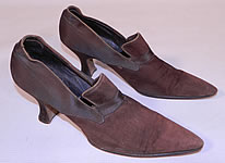 Edwardian Vintage Chocolate Brown Silk & Suede Leather Pointed Toe Tongue Shoes