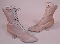 Vintage Unworn Victorian White Cream Canvas High Top Lace-up Boots Shoes