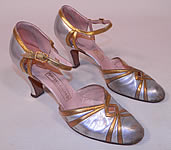 Vintage Marshal Field & Co Aristo Art Deco Silver Gold Leather Ankle Strap Evening Shoes