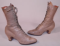 Victorian Antique Ecru Beige Leather High Top Lace-up Boots Swope Shoe Co. Vtg