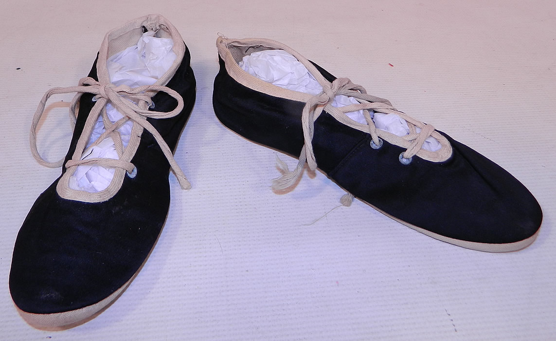 Vintage Womens Black & White Cotton Canvas Ballet Flats Lace-up Bathing Slippers Shoes