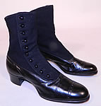 Victorian Vintage Black Wool & Leather High Top Button Boots T.E. Moseley Co. Boston