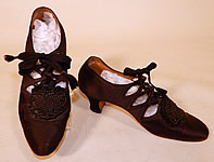 1920s Vintage Thayer McNeil Co Boston Black Silk Beaded Buckle Eyelet Flapper Shoes