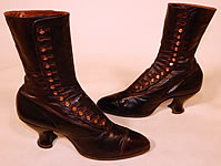 Victorian Women's Antique Bronze Brown Leather High Top Button Boots & Hook