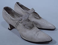 Edwardian Vintage H.H. Tuttle Co. White Leather Button Strap Mary Jane Shoes