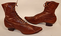Victorian Antique Vintage Womens Brown Leather High Top Lace-up Boots Shoes