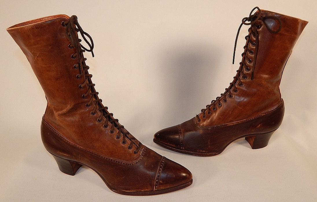 Unworn Victorian Brown Two Tone Leather High Top Lace-up Boots Shoes
