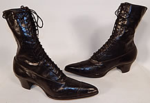 Unworn Vintage Victorian Black Leather High Top Lace-up Boots Poehlman Shoe Co.