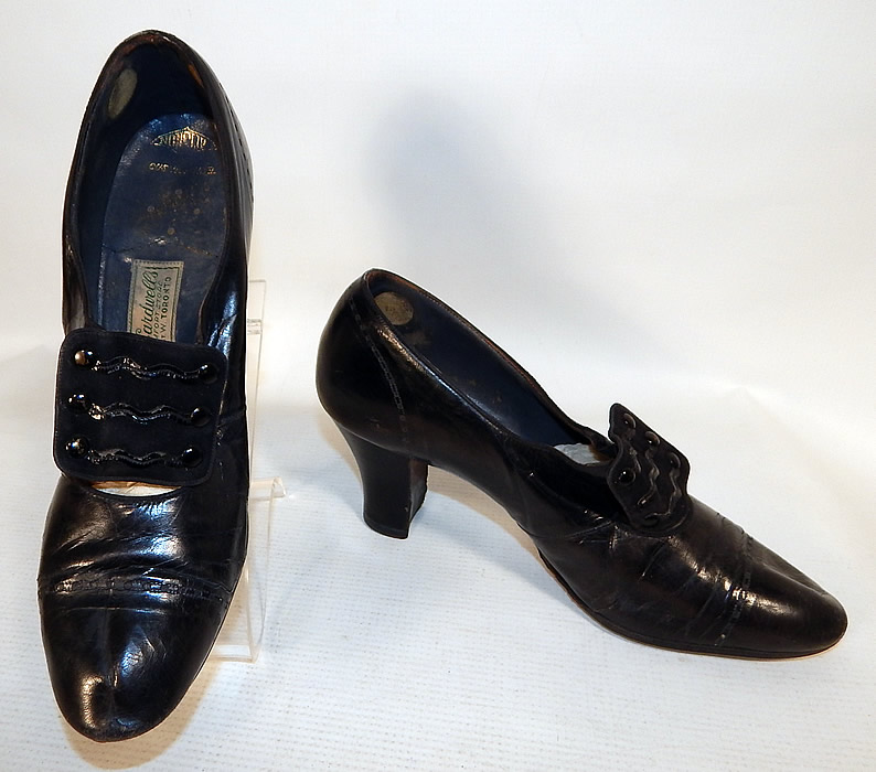 Vintage Bruce Cardwell's Toronto Label Black Patent Leather Art Deco Buckle Shoes