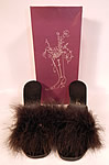 Vintage Rosellini Custom Creations Black Maribou Feather Stiletto Heel Mule Shoes Slipper & Box