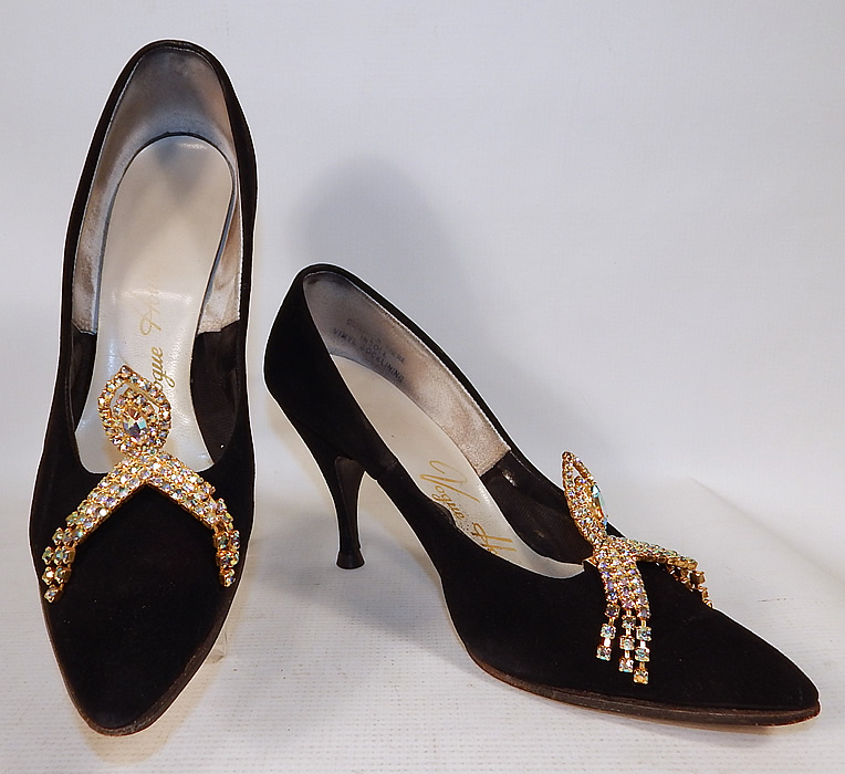Vintage Vogue House Black Suede Leather Stiletto Heel Pumps Rhinestone Shoe Buckles