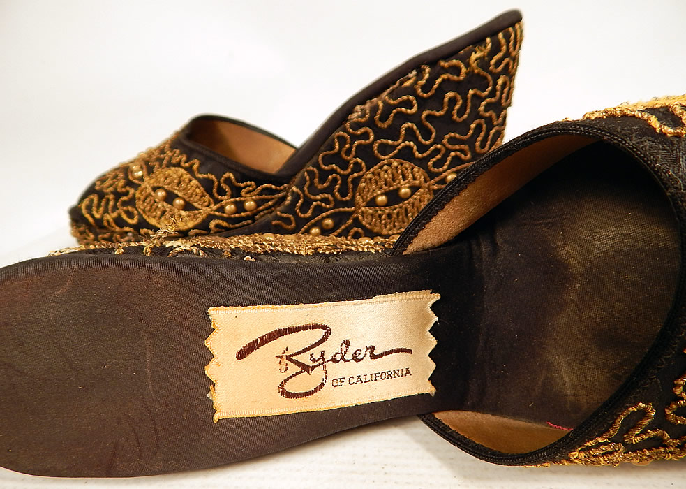 Vintage Ryder of California Black Gold Studded Soutache Wedge Heel Platform Shoes