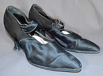 Edwardian Vintage Black Silk Satin Button Strap Mary Jane Pointed Toe Shoes