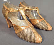 Vintage I. Miller Art Deco Gold Leather Woven Lamé Lame T-Strap Flapper Shoes