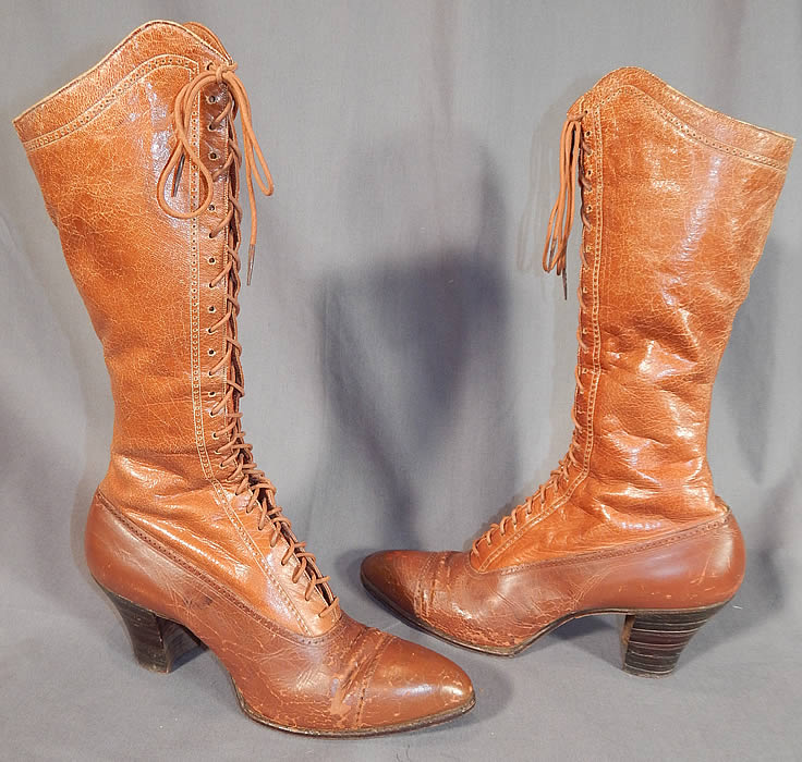 Victorian Vintage I. Miller NY Brown Leather High Top Lace-up Hiking Boots Shoes