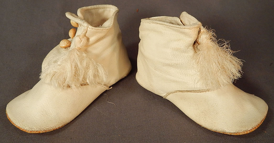 Victorian White Kid Leather High Button Baby Boots Infant Childrens Shoes