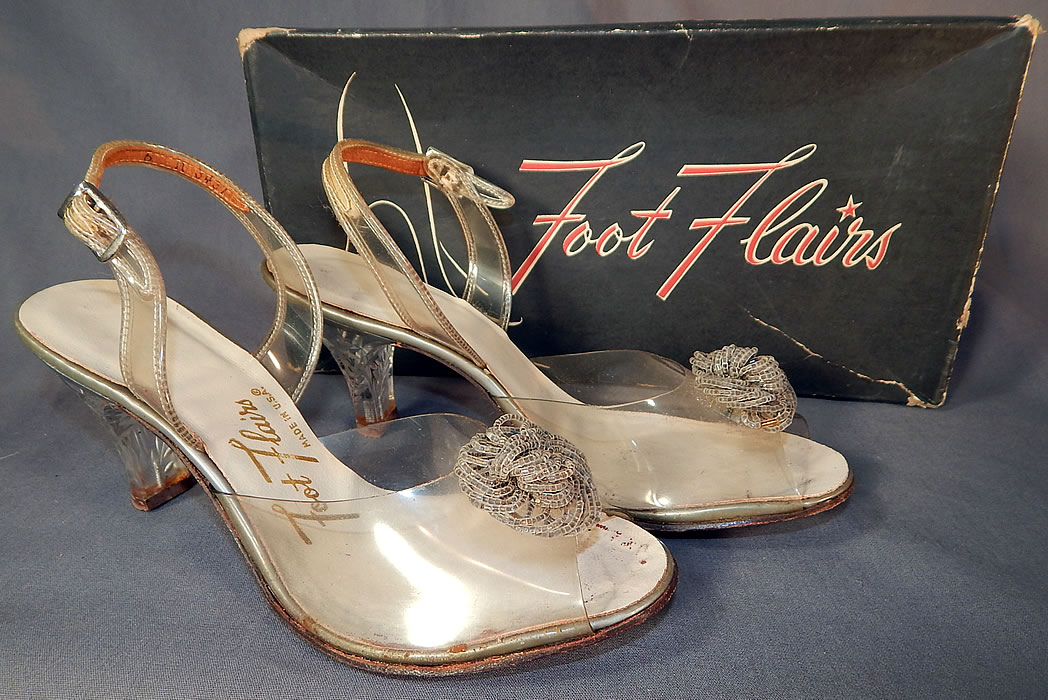 Vintage Foot Flairs Beaded Clear Carved Lucite High Heels Slingback Shoes  They are made of a