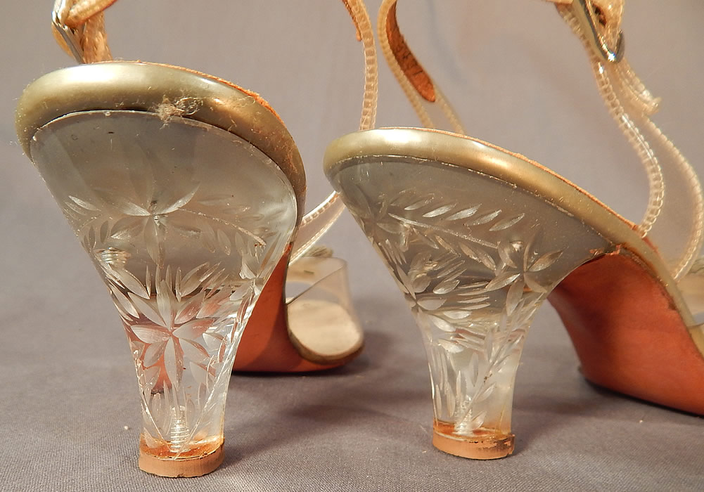 Vintage Foot Flairs Beaded Clear Carved Lucite High Heels Slingback Shoes  These sensational slipper slingback style