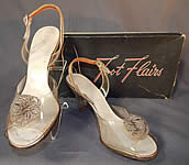 Vintage Foot Flairs 1950s Beaded Clear Carved Lucite High Heels Slingback Shoes