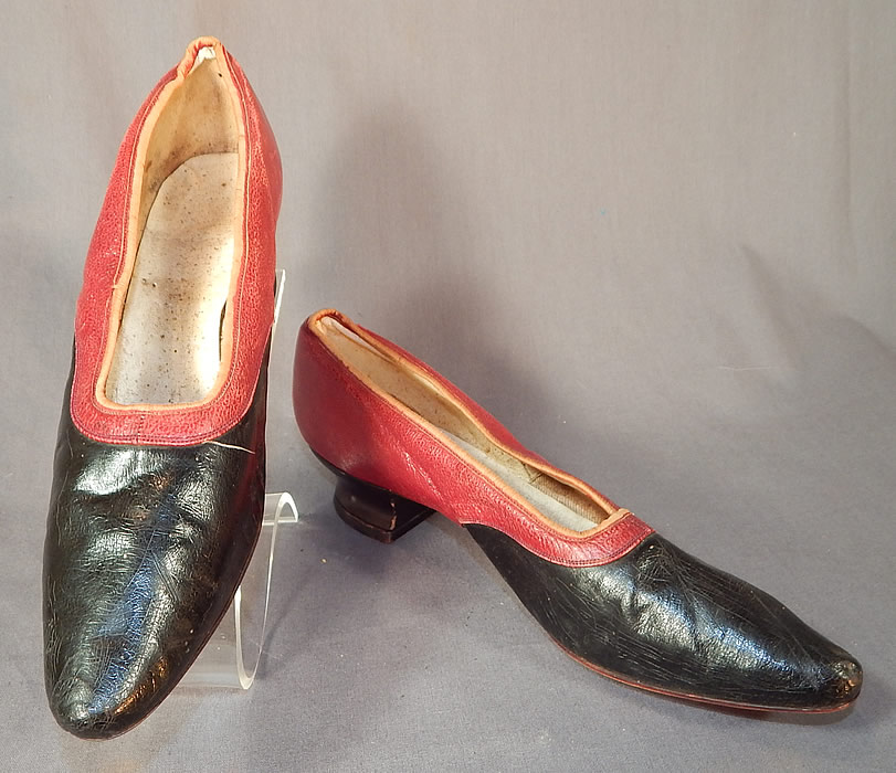 Victorian Red & Black Two Tone Leather Pointed Toe French Heel Slipper Shoes