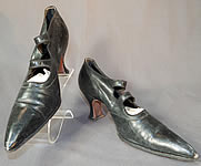 Vintage Edwardian Black Leather Double Button Strap Mary Jane Pointed Toe Shoes