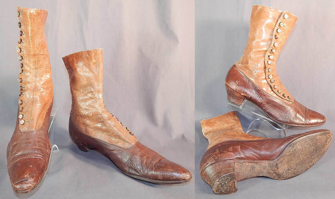 Victorian Antique Brown Two Tone Leather High Top Button Boots Shoes