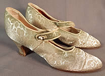 Vintage Traveler Shoe Art Deco Silver Lamé Lame Brocade Mary Jane Shoes