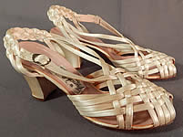 Vintage Chandlers French Room Silk Braided Woven Strap Bridal Wedding Shoes