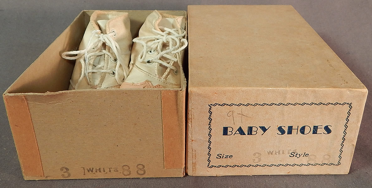 58d5ec3a7fe76 Vintage Antique Pink White Leather Baby Boots Childs Shoes & Box