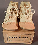 Vintage 1920s Antique Pink White Leather Baby Boots Childs Shoes & Box Size 3