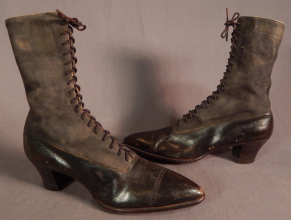 Victorian T.E. Mosely Co Gray Suede Black Leather High Top Lace-up Boots Shoes