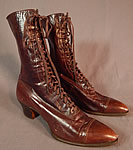Edwardian Vintage Arch Preserver Selby Shoe Co Brown Leather High Top Laceup Boots