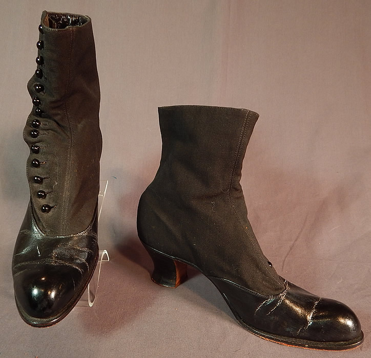 Victorian Womens Black Wool & Leather High Top Button Boots Clarice TC Shoe Co.
