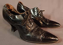 Vintage Edwardian Womens Black Leather Lace-up Pointed Toe Low Shoes