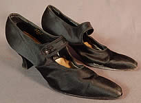 Edwardian Vintage Sommer & Kaufmann Black Silk Button Strap Mary Jane Shoes