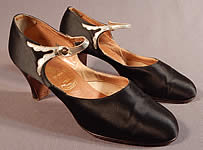 Vintage Peacock Shoe Art Deco Black Silk Satin Silver Button Strap Mary Jane Shoes