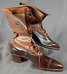 Unworn Edwardian Brown Two Tone Leather High Top Lace-up Boots & Shoe Box