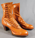 Edwardian Vintage Unworn Womens Tan Leather High Top Button Boots & Box