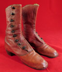 Victorian 1860s Rare Red Leather Scalloped High Top Button Boots Shoes