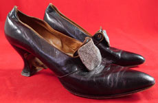 Vintage Edwardian Aubergine Leather Steel Cut Beaded Buckle Pointed Toe Shoes