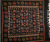 Caucasus Hand Woven Wool Embroidery Kilim Rug Throw