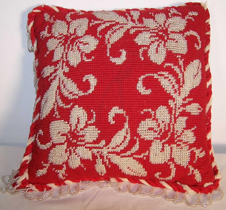 Victorian Era Pillows : Victorian Beaded Needlepoint Pincushion Pillow