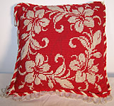 Victorian Beaded Red Needlepoint Pincushion