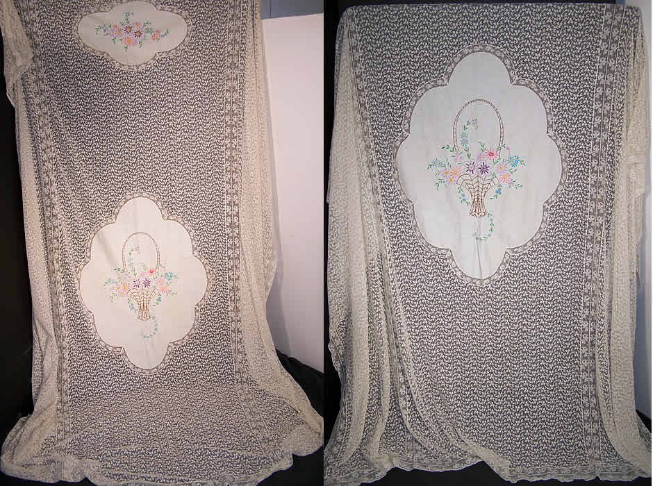 Embroidered Flower Basket Net Lace Bedspread  Front view.