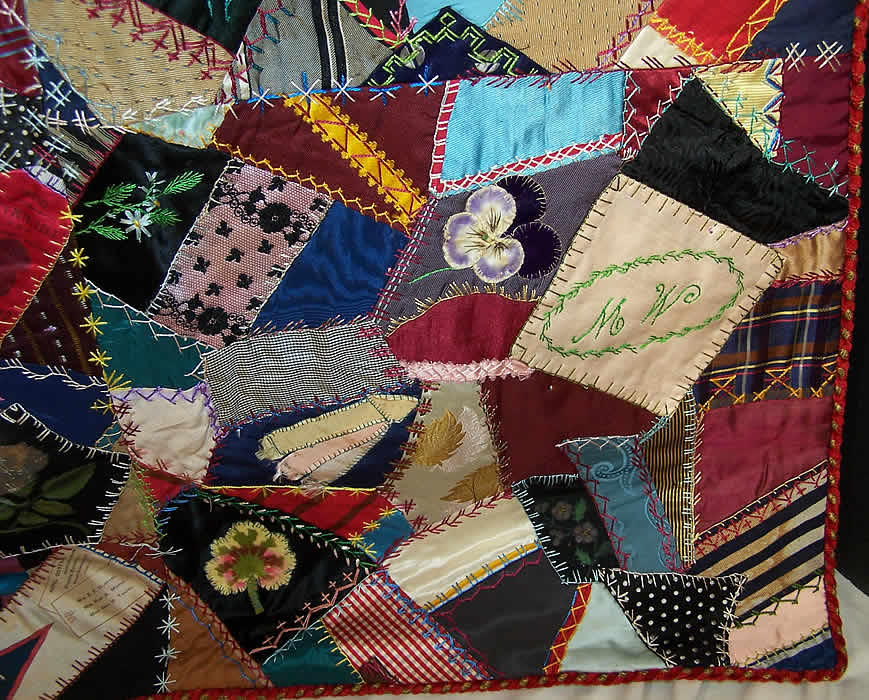 Victorian Antique Embellished Embroidered Crazy Quilt