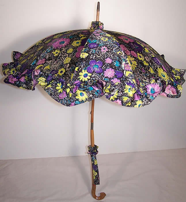 Purple Silk Floral Print Parasol Umbrella Front view.