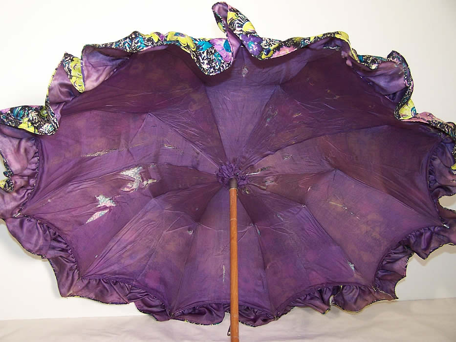 Purple Silk Floral Print Parasol Umbrella Close up.