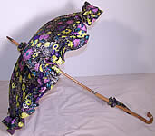 Purple Silk Floral Print Parasol Umbrella