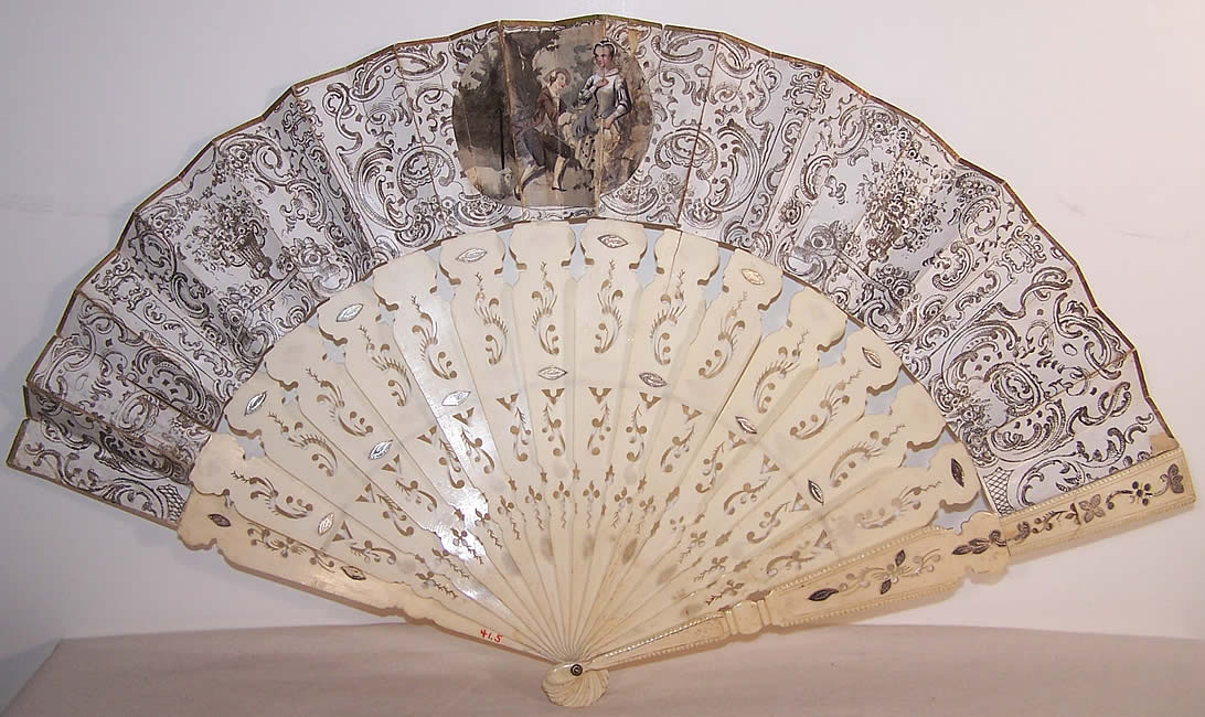 Victorian Italian Lithograph Foil Inlay Pierced Sticks Fan Back View.